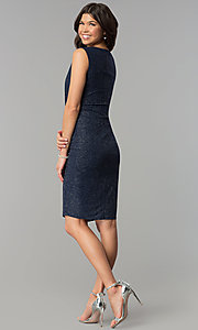 Image of navy and silver Tiana B sleeveless holiday dress. Style: JU-TI-89233 Detail Image 3