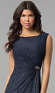 Image of navy and silver Tiana B sleeveless holiday dress. Style: JU-TI-89233 Detail Image 1