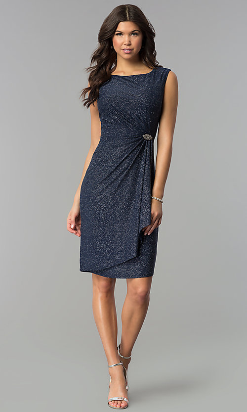 Image of navy and silver Tiana B sleeveless holiday dress. Style: JU-TI-89233 Detail Image 2