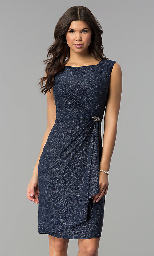 Image of navy and silver Tiana B sleeveless holiday dress. Style: JU-TI-89233 Front Image