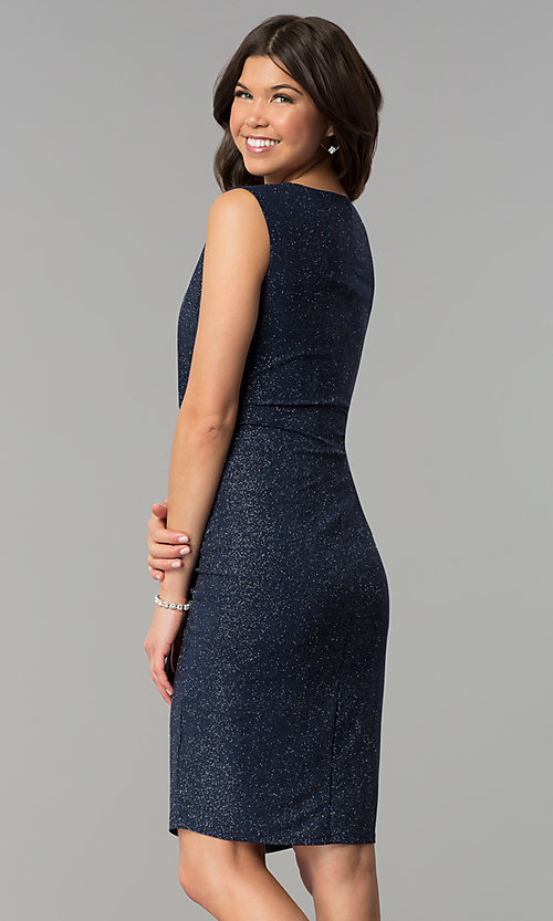 Image of navy and silver Tiana B sleeveless holiday dress. Style: JU-TI-89233 Back Image