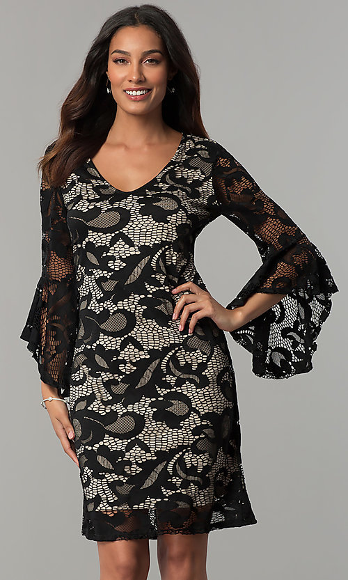 Image of Tiana B lace holiday party dress with angel sleeves. Style: JU-TI-T0333 Front Image