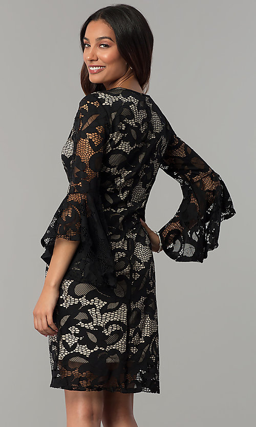 Image of Tiana B lace holiday party dress with angel sleeves. Style: JU-TI-T0333 Back Image