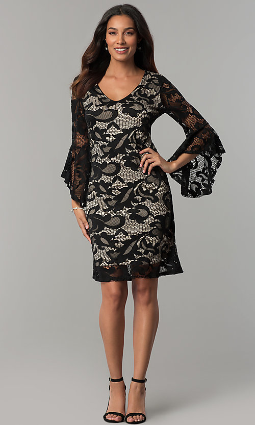 Image of Tiana B lace holiday party dress with angel sleeves. Style: JU-TI-T0333 Detail Image 2