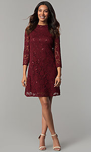 Image of short shift lace holiday party dress with sleeves. Style: JU-TI-98045 Detail Image 1