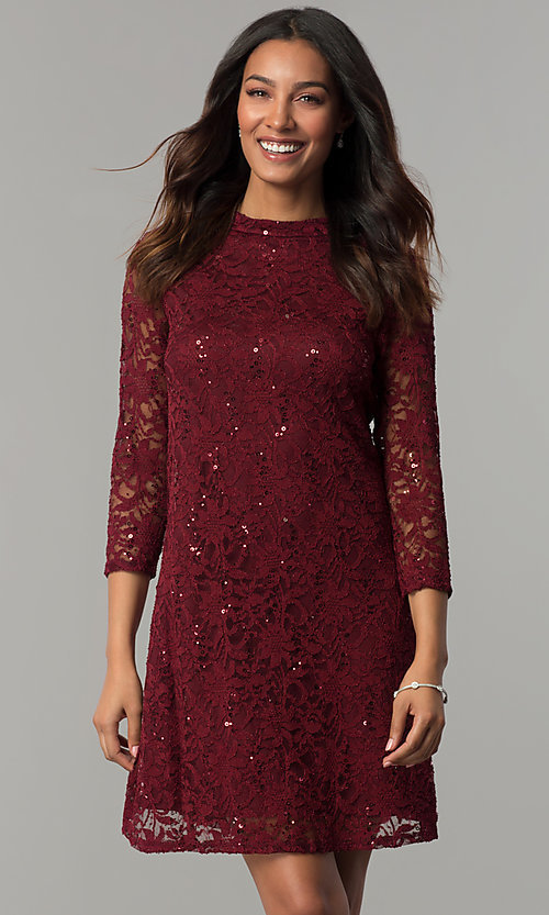 Image of short shift lace holiday party dress with sleeves. Style: JU-TI-98045 Front Image