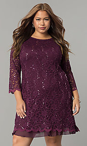 Short Three-Quarter Sleeve Lace Plus Holiday Dress