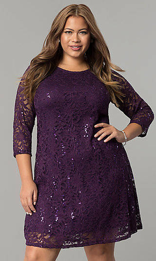 Eggplant Purple Short Plus-Size Holiday Dress with Sequins