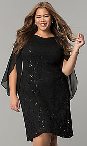 Short Lace and Sequin Plus Holiday Dress with Chiffon Sleeves