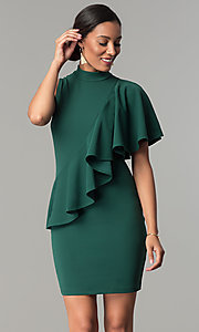 Image of short wedding-guest dress with asymmetrical ruffle. Style: SY-ID-5282AP Front Image