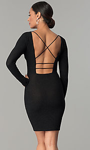 Open Back Long Sleeve Party Dress