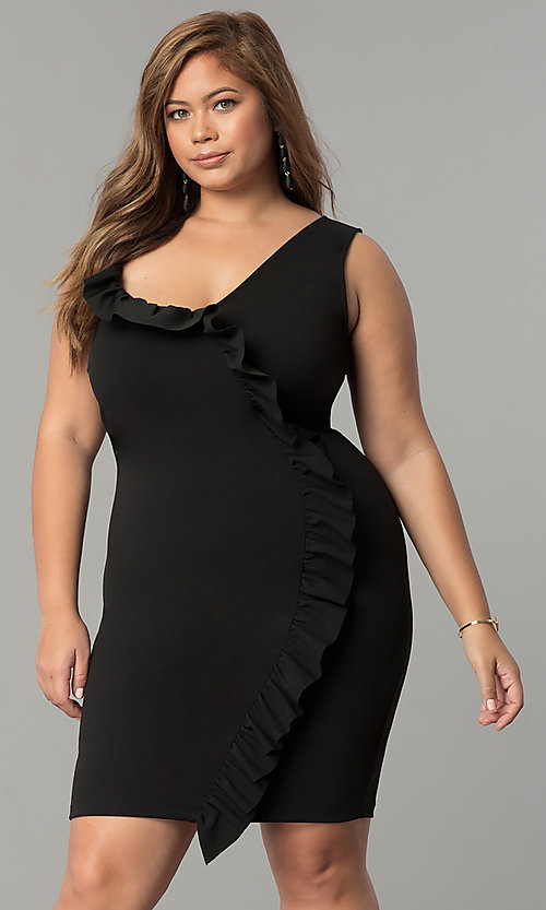 Image of short plus-size party dress with asymmetrical ruffle. Style: SY-IXD-5274VP Detail Image 2