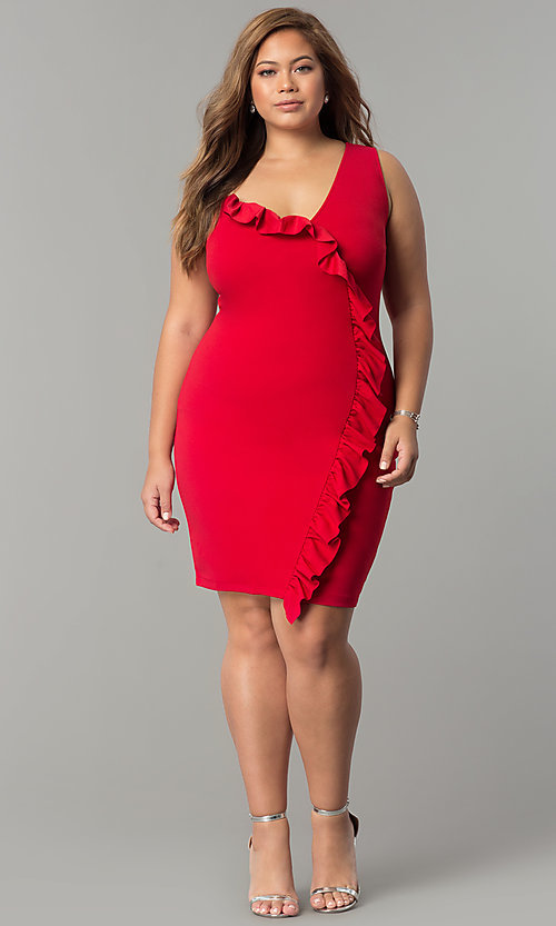 Image of short plus-size party dress with asymmetrical ruffle. Style: SY-IXD-5274VP Detail Image 1