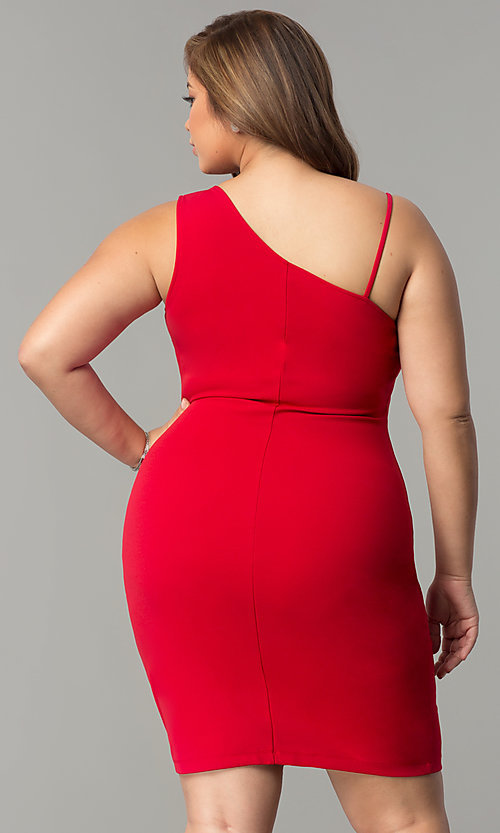 Image of short plus-size party dress with asymmetrical ruffle. Style: SY-IXD-5274VP Back Image