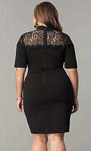 Image of high-neck short plus-size party dress with sleeves. Style: SY-IXD-4951AP Back Image