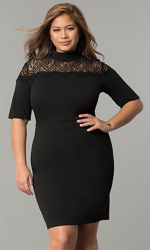 Image of high-neck short plus-size party dress with sleeves. Style: SY-IXD-4951AP Front Image