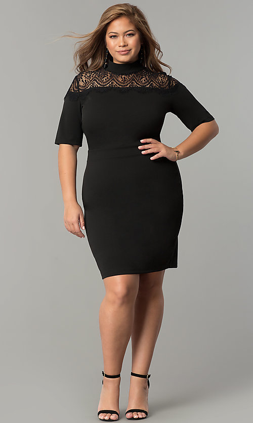 Image of high-neck short plus-size party dress with sleeves. Style: SY-IXD-4951AP Detail Image 2