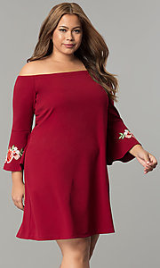 Image of off-the-shoulder plus-size party dress with sleeves. Style: SY-IXD-5230AP Front Image