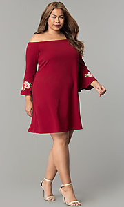Image of off-the-shoulder plus-size party dress with sleeves. Style: SY-IXD-5230AP Detail Image 1