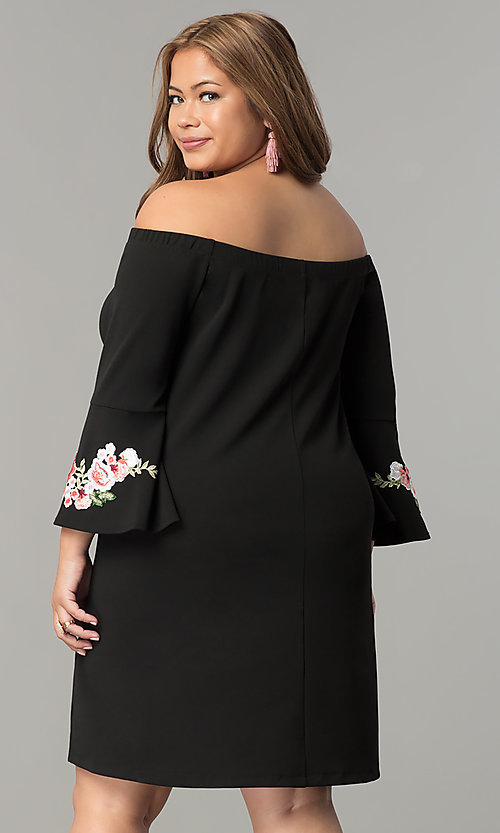Image of off-the-shoulder plus-size party dress with sleeves. Style: SY-IXD-5230AP Back Image