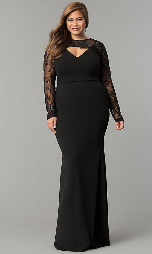 598a129ef22 Long Formal Plus-Size Dress with Removable Top