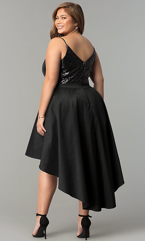 Plus-Size High-Low Party Dress with Sequins - PromGirl