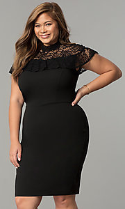 Short Plus-Size Party Dress with Attached Lace Capelet