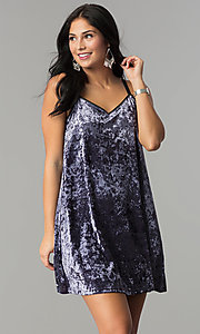 Image of short velvet v-neck shift party dress. Style: VJ-VD32155 Front Image