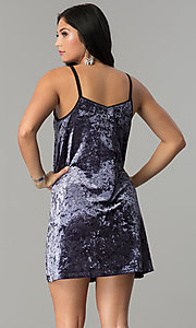 Image of short velvet v-neck shift party dress. Style: VJ-VD32155 Back Image
