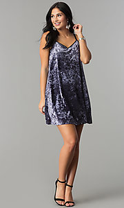 Image of short velvet v-neck shift party dress. Style: VJ-VD32155 Detail Image 1