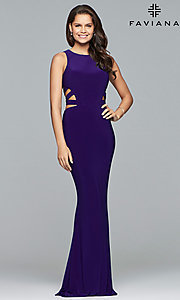 Image of long Faviana jersey prom dress with cut outs. Style: FA-8018 Detail Image 3