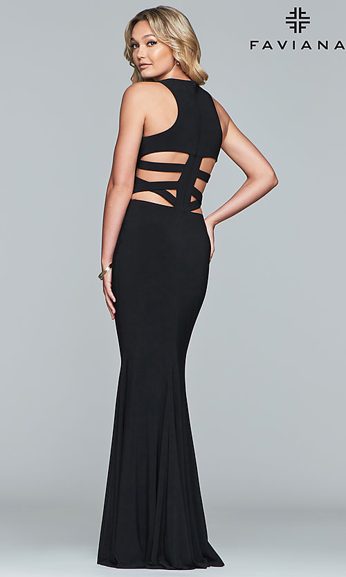 Image of long Faviana jersey prom dress with cut outs. Style: FA-8018 Detail Image 4