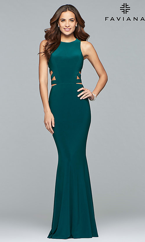 Image of long Faviana jersey prom dress with cut outs. Style: FA-8018 Detail Image 2