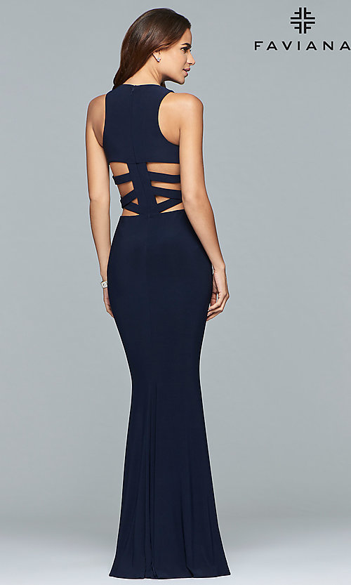 Image of long Faviana jersey prom dress with cut outs. Style: FA-8018 Back Image