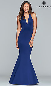 Image of v-neck halter prom dress by Faviana. Style: FA-10105 Detail Image 3