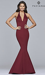 V-Neck Halter Prom Dress by Faviana