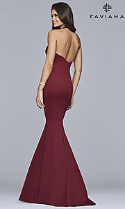Image of v-neck halter prom dress by Faviana. Style: FA-10105 Back Image