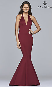 Image of v-neck halter prom dress by Faviana. Style: FA-10105 Detail Image 1
