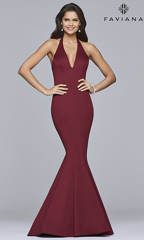 Image of v-neck halter prom dress by Faviana. Style: FA-10105 Front Image