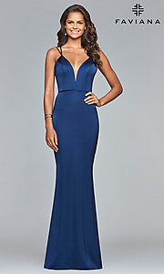 Image of v-neck open-back long satin prom dress by Faviana. Style: FA-S10012 Back Image