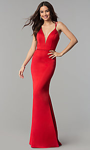 Image of v-neck open-back long satin prom dress by Faviana. Style: FA-S10012 Detail Image 1