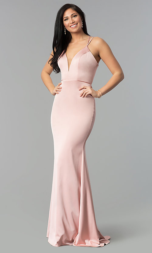 Image of v-neck open-back long satin prom dress by Faviana. Style: FA-S10012 Detail Image 3