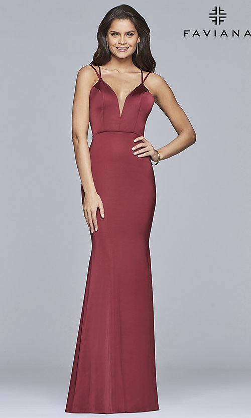 Image of v-neck open-back long satin prom dress by Faviana. Style: FA-S10012 Detail Image 5