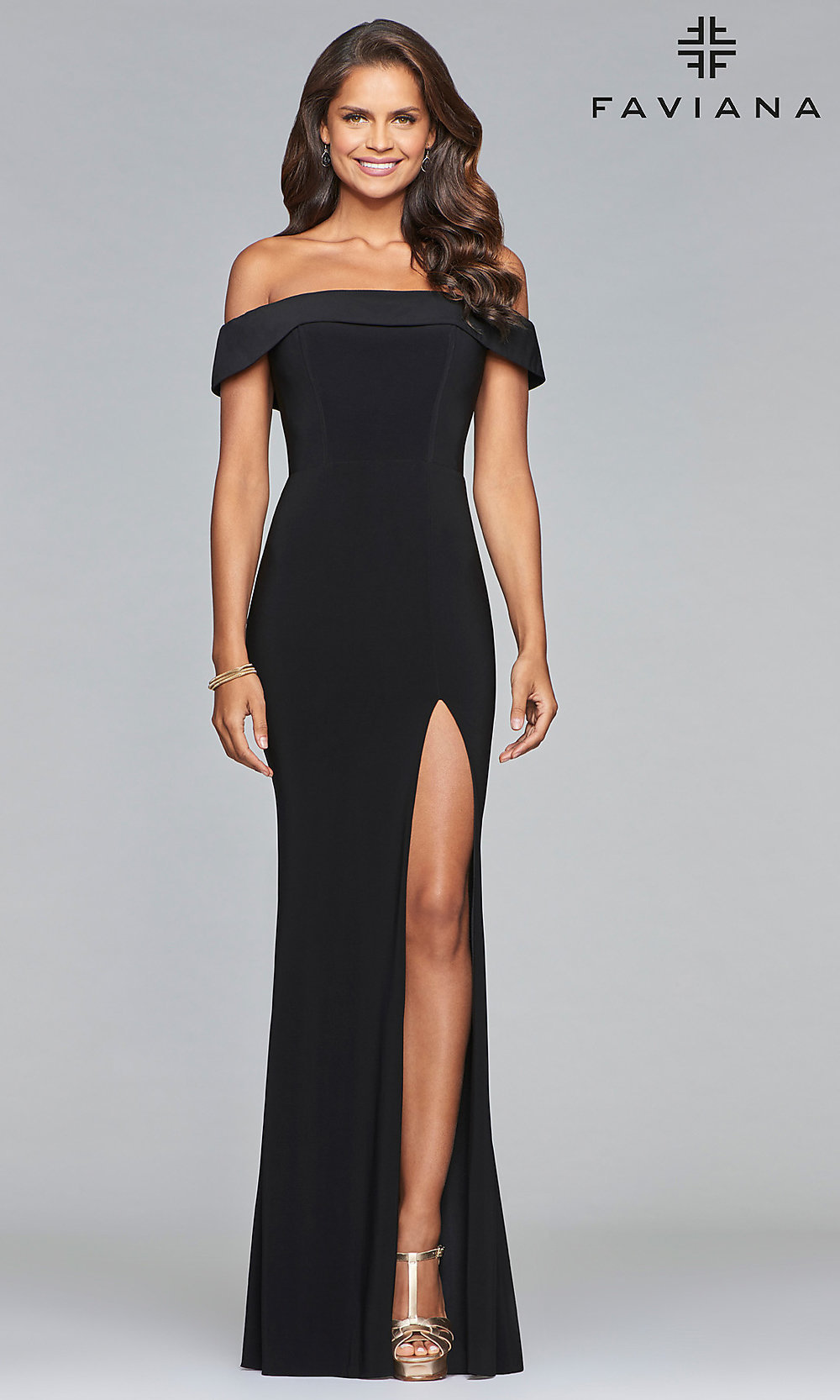 cb4e7d309b1 Off-the-Shoulder Faviana Long Prom Dress - PromGirl