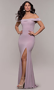 Image of Faviana long off-the-shoulder formal prom dress. Style: FA-S10015 Detail Image 6