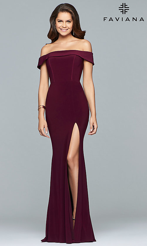 Image of Faviana long off-the-shoulder formal prom dress. Style: FA-S10015 Front Image