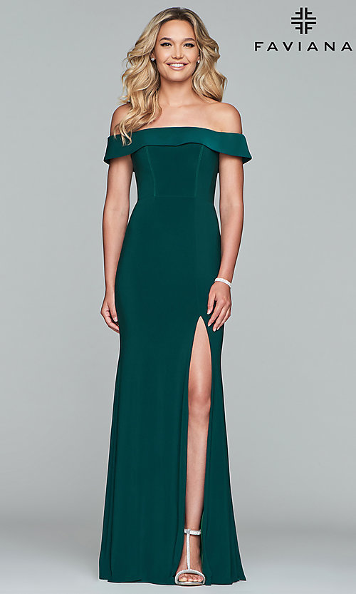 Image of Faviana long off-the-shoulder formal prom dress. Style: FA-S10015 Detail Image 4