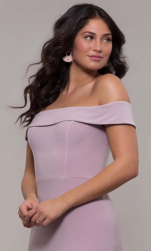 Image of Faviana long off-the-shoulder formal prom dress. Style: FA-S10015 Detail Image 7