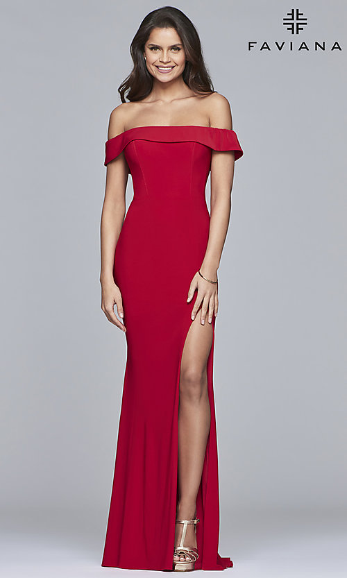 Image of Faviana long off-the-shoulder formal prom dress. Style: FA-S10015 Detail Image 3
