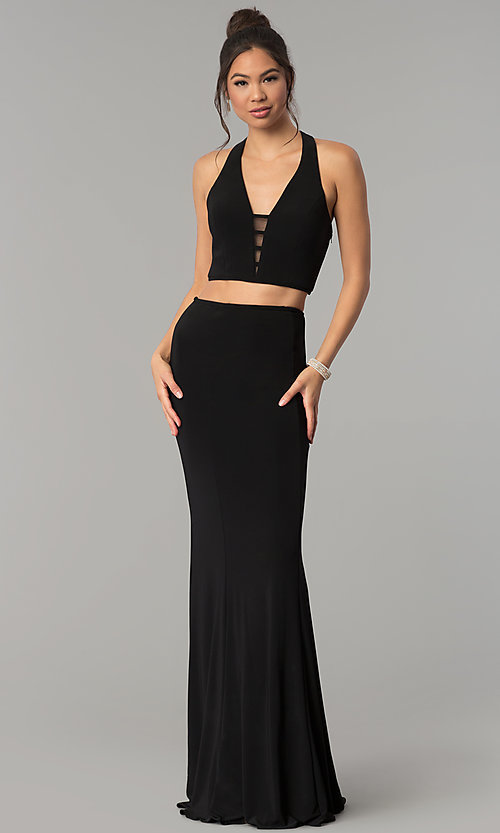 Image of long two-piece open-back Faviana prom dress. Style: FA-10056 Detail Image 3